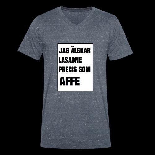 Affe älskar lasagne - Ekologisk T-shirt med V-ringning herr från Stanley & Stella