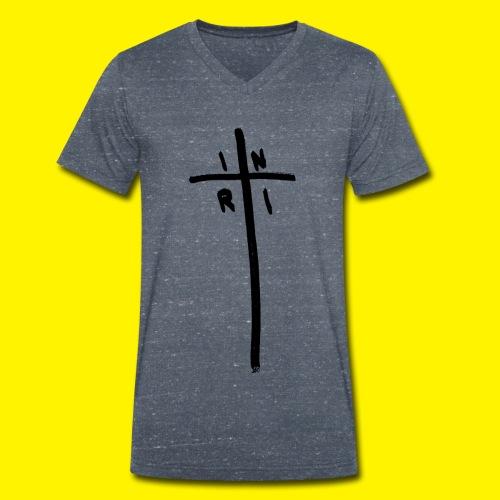 Cross - INRI (Jesus of Nazareth King of Jews) - Men's Organic V-Neck T-Shirt by Stanley & Stella