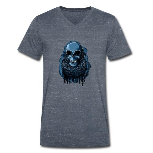 SKULL in CHAINS - deepBlue - Men's Organic V-Neck T-Shirt by Stanley & Stella