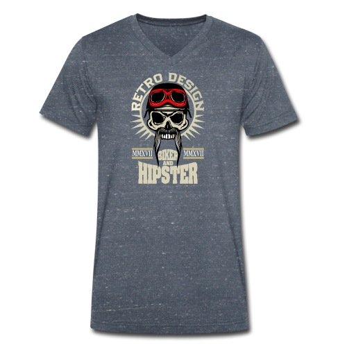 tete de mort hipster biker skull crane motard lune - T-shirt bio col V Stanley & Stella Homme