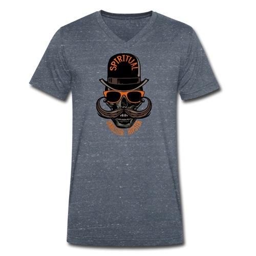 tete de mort hipster crane skull gangster moustach - T-shirt bio col V Stanley & Stella Homme