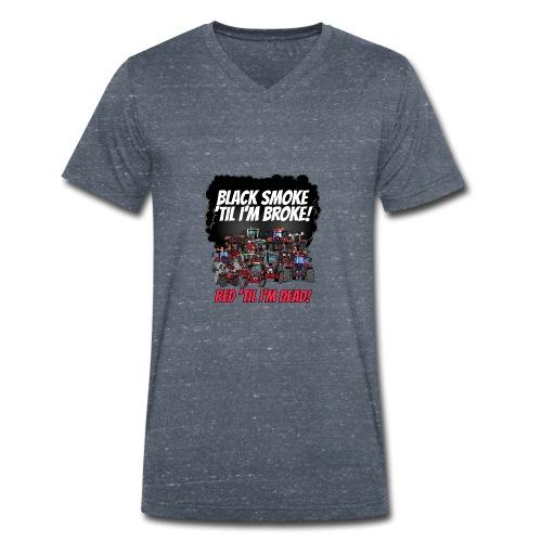 2016_black_smoke_red_IH_tshirt - Mannen bio T-shirt met V-hals van Stanley & Stella