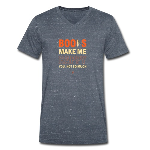 Books Make Me Happy - Orange - Men's Organic V-Neck T-Shirt by Stanley & Stella