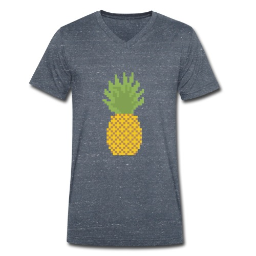Pineapple Pixel Art - Men's Organic V-Neck T-Shirt by Stanley & Stella