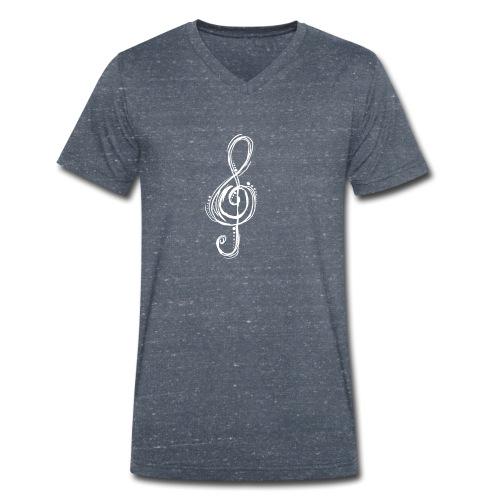 Violinschlüssel weiß - Männer Bio-T-Shirt mit V-Ausschnitt von Stanley & Stella