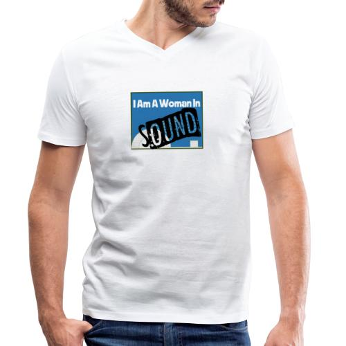 woman in sound - blue - Men's Organic V-Neck T-Shirt by Stanley & Stella