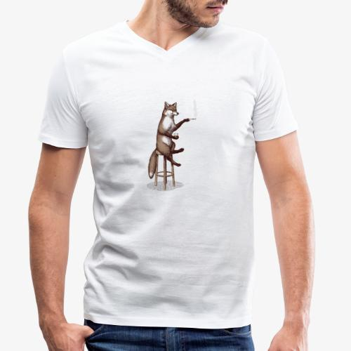 The Fox At the Bar - Men's Organic V-Neck T-Shirt by Stanley & Stella