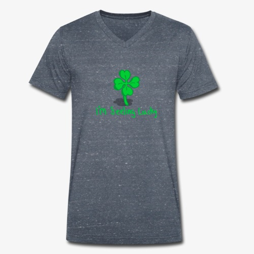 Lucky Four Leaf Clover - Men's Organic V-Neck T-Shirt by Stanley & Stella