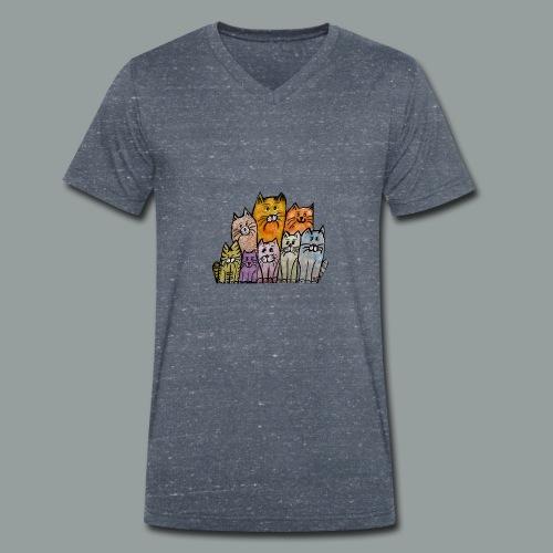 Katzenbande - Männer Bio-T-Shirt mit V-Ausschnitt von Stanley & Stella