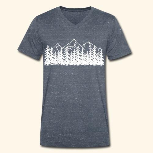 Berge Wälder weiß Mountains Woods - Männer Bio-T-Shirt mit V-Ausschnitt von Stanley & Stella