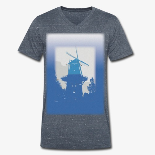 Mills blue - T-shirt ecologica da uomo con scollo a V di Stanley & Stella
