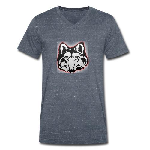 Wolfie (Red) - Men's Organic V-Neck T-Shirt by Stanley & Stella