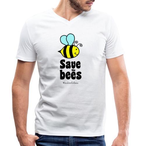 Bees9-1 save the bees | Bienen Blumen Schützen - Männer Bio-T-Shirt mit V-Ausschnitt von Stanley & Stella
