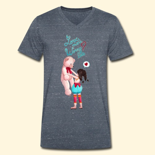 Fille au nounours - Love more Worry less - T-shirt bio col V Stanley & Stella Homme