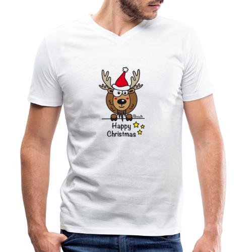 Renne Noël, Happy Christmas, Drôle, Humour, Santa - T-shirt bio col V Stanley & Stella Homme