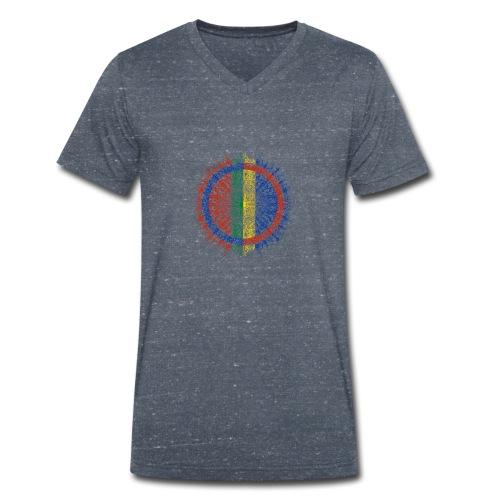 Samisk flagg - Økologisk T-skjorte med V-hals for menn fra Stanley & Stella