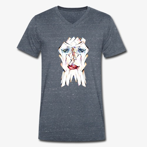 Pokerface - Men's Organic V-Neck T-Shirt by Stanley & Stella