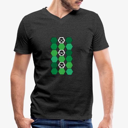 |K·CLOTHES| HEXAGON ESSENCE GREENS & WHITE - Camiseta ecológica hombre con cuello de pico de Stanley & Stella