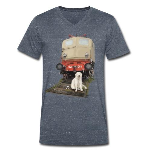Golden Retriever with Train - T-shirt ecologica da uomo con scollo a V di Stanley & Stella