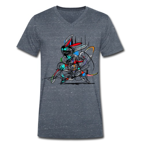 Ninja fighter Easter Bunny / Abstract - Men's Organic V-Neck T-Shirt by Stanley & Stella