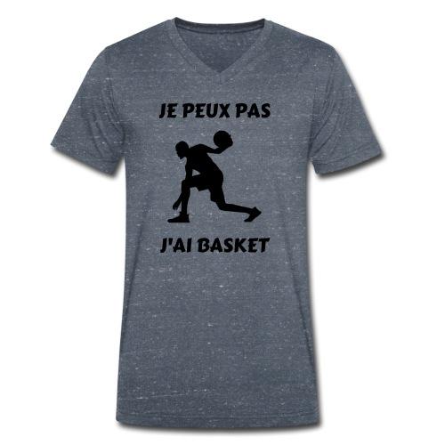 t-shirt basket je peux pas j'ai basket - T-shirt bio col V Stanley & Stella Homme