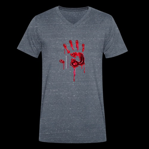 Promote Horror Blood-Soaked Hand - Men's Organic V-Neck T-Shirt by Stanley & Stella