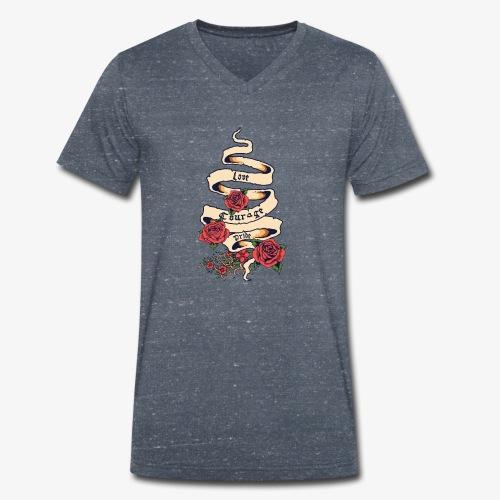 Liebe und Mut - Männer Bio-T-Shirt mit V-Ausschnitt von Stanley & Stella