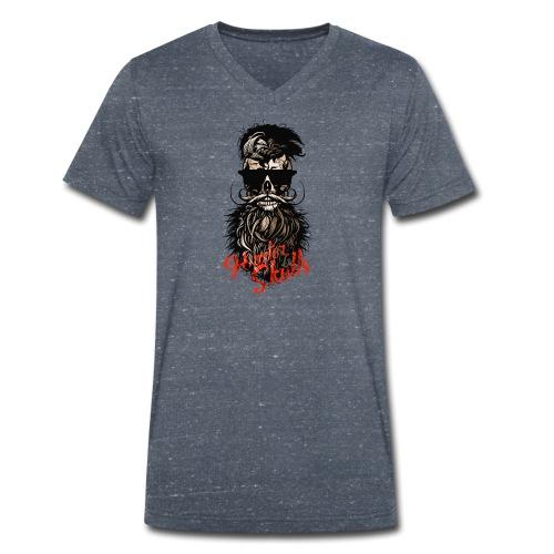 tete de mort barbu hipster barbe crane moustache m - T-shirt bio col V Stanley & Stella Homme