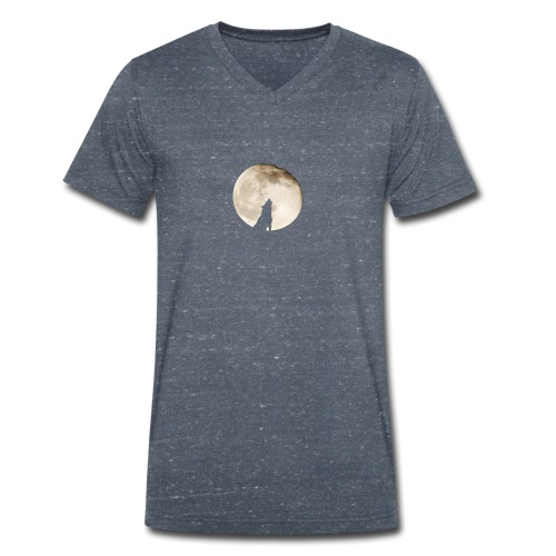 The wolf with the moon - T-shirt bio col V Stanley & Stella Homme