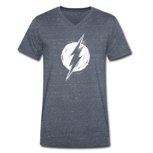 Justice League Flash Logo white - Männer Bio-T-Shirt mit V-Ausschnitt von Stanley & Stella