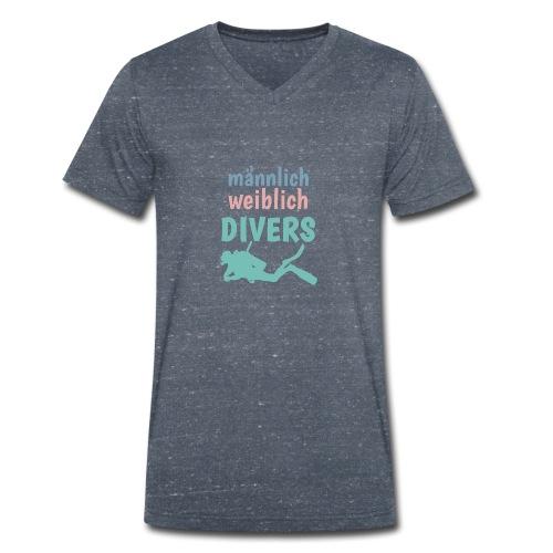 m/w/d: männlich weiblich DIVERS! Shirt für Taucher - Männer Bio-T-Shirt mit V-Ausschnitt von Stanley & Stella