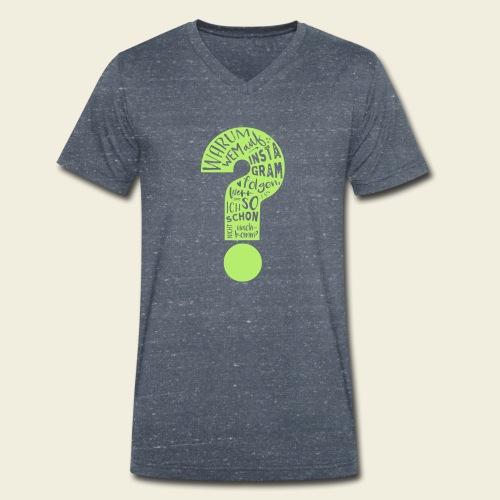 Warum folgen - Design schwarz - Männer Bio-T-Shirt mit V-Ausschnitt von Stanley & Stella