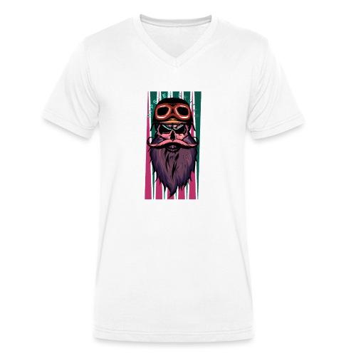 tete de mort hipster crane slull barbe moustache p - T-shirt bio col V Stanley & Stella Homme