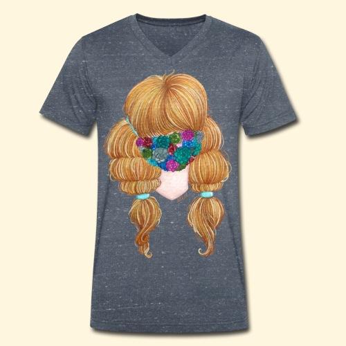 Fille masquée aux succulentes - T-shirt bio col V Stanley & Stella Homme