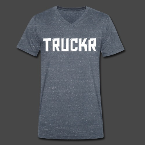 White print with no background TRUCKR - Men's Organic V-Neck T-Shirt by Stanley & Stella