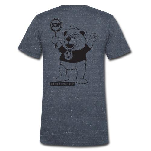FUPO der Bär. Druckfarbe schwarz - Männer Bio-T-Shirt mit V-Ausschnitt von Stanley & Stella