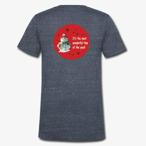 bonhomme de neige sur fond de boule de Noël rouge - T-shirt bio col V Stanley & Stella Homme