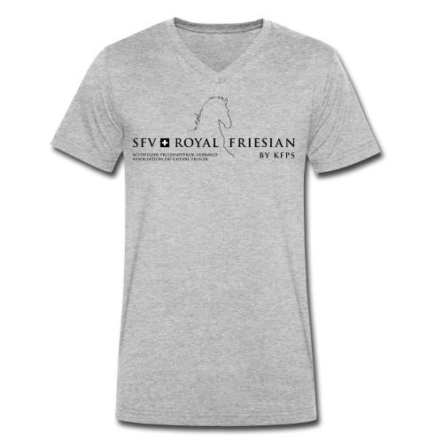 SFV Royal Friesian Schwarz Transparent - Männer Bio-T-Shirt mit V-Ausschnitt von Stanley & Stella
