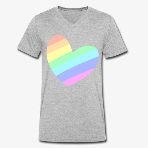 Pastal Rainbow Heart - Mannen bio T-shirt met V-hals van Stanley & Stella