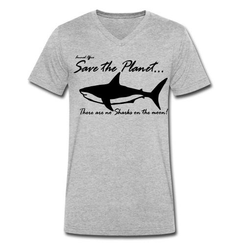 Save the planet there are no sharks on the moon - Männer Bio-T-Shirt mit V-Ausschnitt von Stanley & Stella