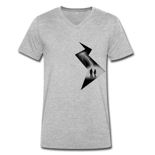 t shirt coup de foudre noir et blanc amour love - T-shirt bio col V Stanley & Stella Homme