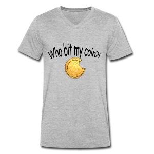 Bitcoin bite - Mannen bio T-shirt met V-hals van Stanley & Stella