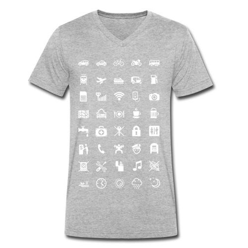 T-shirt för resan med vita ikoner - Ekologisk T-shirt med V-ringning herr från Stanley & Stella