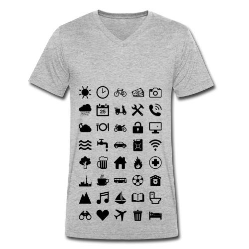 Travel Icons - Männer Bio-T-Shirt mit V-Ausschnitt von Stanley & Stella