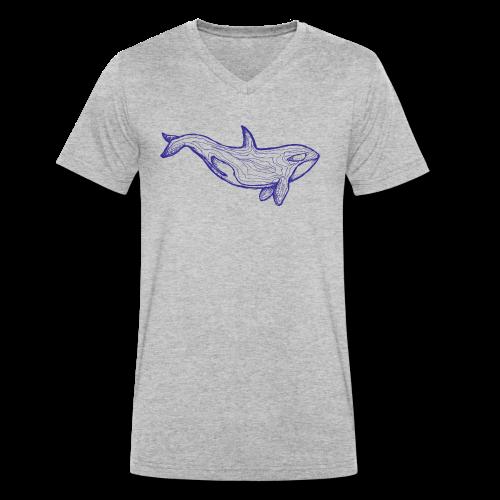 Blauer Orca - Männer Bio-T-Shirt mit V-Ausschnitt von Stanley & Stella