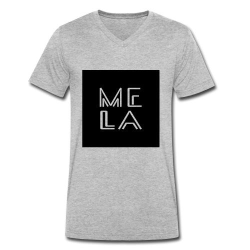 Mela Svart Logo - Økologisk T-skjorte med V-hals for menn fra Stanley & Stella