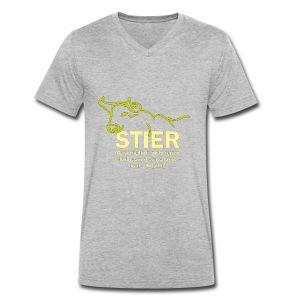Stier Strich Gruen Text Gelb - Männer Bio-T-Shirt mit V-Ausschnitt von Stanley & Stella