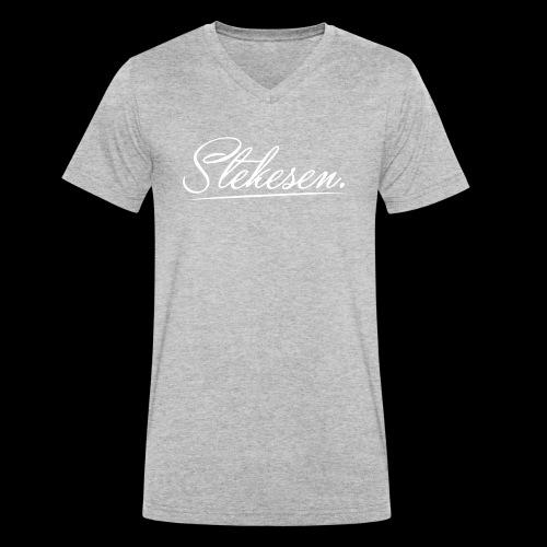 Stekesen White - Økologisk T-skjorte med V-hals for menn fra Stanley & Stella