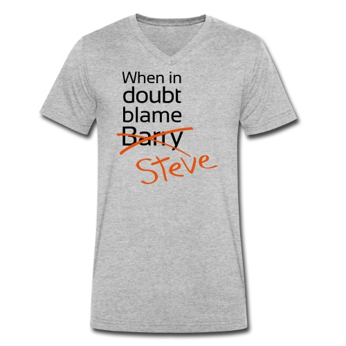 BlameBarryXSteve - Men's Organic V-Neck T-Shirt by Stanley & Stella