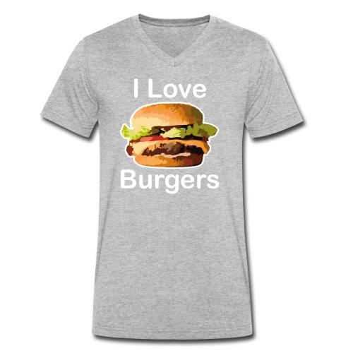 I Love Burgers - T-shirt bio col V Stanley & Stella Homme
